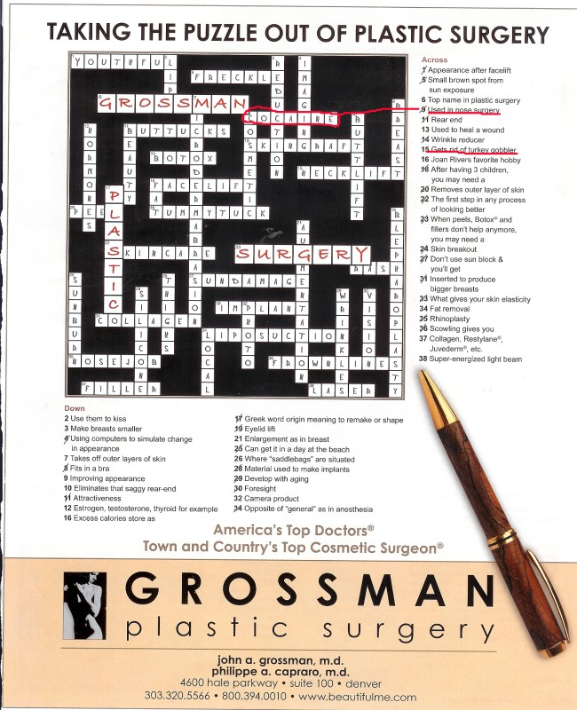 cosmetic surgery crossword puzzle